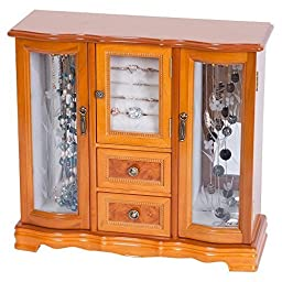 Tory Jewelry Box Lyra Glass Door Jewelry Box, Burlwood Oak Finish by Tory Jewelry Box