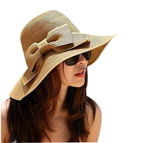 Warmhome Lady Women Bowknot Straw Hat Wide Brim Sun Visor Sun Crocheted Summer Beach Hat (Coffee)