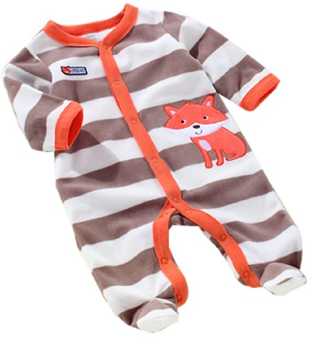 Baby Toddler Velour Stripe Jumpsuit Front Button 41(As Picture,9 Months)