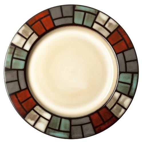 Signature Housewares Window Pane 8-1/2-Inch Stoneware Salad Plate