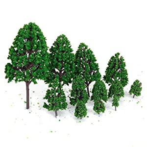 12pcs 1.2 inch - 6.3 inch Green Train Set Scenery Landscape Model Tree Scale 1/50