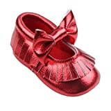 Longra Baby Mädchen Krippe Bowknotschuhe Kleinkind beiläufige Schuh PU Leder