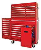 Best Deals Lyon RR1469 Industrial Tool Storage Combination Cabinet with 10 Drawer Top Chest and 8 Drawer Side Cabinet, 59″ Width x 18″ Depth x 55-5/16″ Height, Red