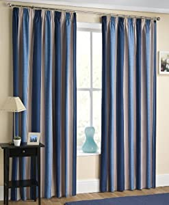 Blue Cream Beige Blockout Striped Curtains 46 X 54