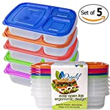 Orgalif BPA-Free 3-compartment Reusable Plastic Bento Lunch Box, Set of 5