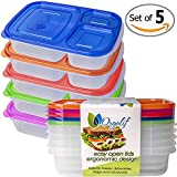 Orgalif Bento Lunch Box Container Food Storage 3-compartment Eco Friendly for Kids, Reusable Lunchbox Made with High Quality Plastic Microwavable Dishwasher Safe Bpa Free Perfect for School and Office (Set of 5)