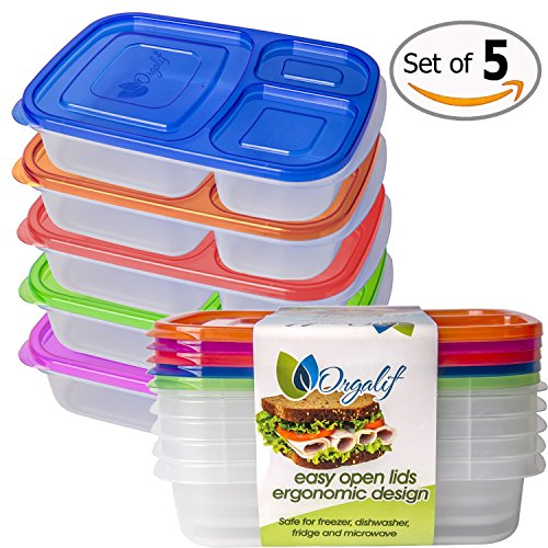 Orgalif Bento Lunch Box Container Food Storage 3-compartment Eco Friendly