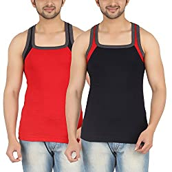 SHERA Fitline Red and NavyBlue Color Gym Vest Pack of 2