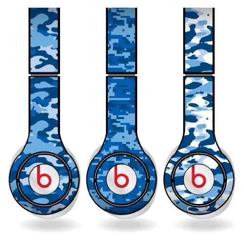Blue Military Camouflage Print Set Of 3 Headphone Skins For Beats Solo Hd Headphones - Removable Vinyl Decal!