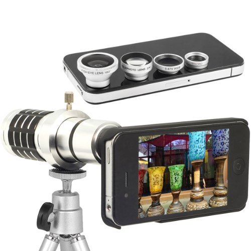 Xcsource® 5In1 Phone Camera Lens 12X Zoom Telescope Phone Camera Lens + Wide Angle + Macro + Fish Eye Lens For Iphone 5 5G 5S Dc370