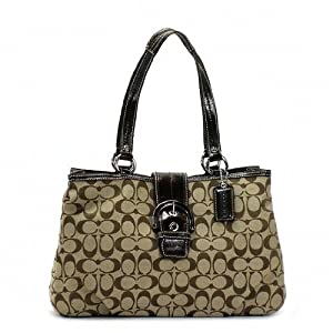 Coach Soho East West Signature Buckle Tote 18750 Khaki Mahogany Skhma