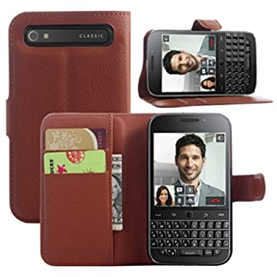 Ultra Slim Flip Bracket Cover Case for BlackBerry Classic - Premium Soft PU Leather [ Wallet ] Case Cover for BlackBerry Classic by Fettion