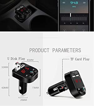 LLBH Black Bluetooth Car FM Transmitter Audio Adapter Receiver Wireless Handsfree