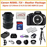 EOS Rebel T3i Digital Camera REAL ESTATE Kit w/ 12-24mm f4.5-5.6 Autofocus Lens +2 Extra Batteries + Rapid Charger + Much More...
