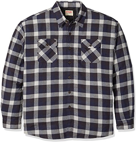 Wrangler Men's Big and Tall Long Sleeve Quilted Lined Flannel Shirt, Mood Indigo, 3XL (Mens Quilted Flannel compare prices)