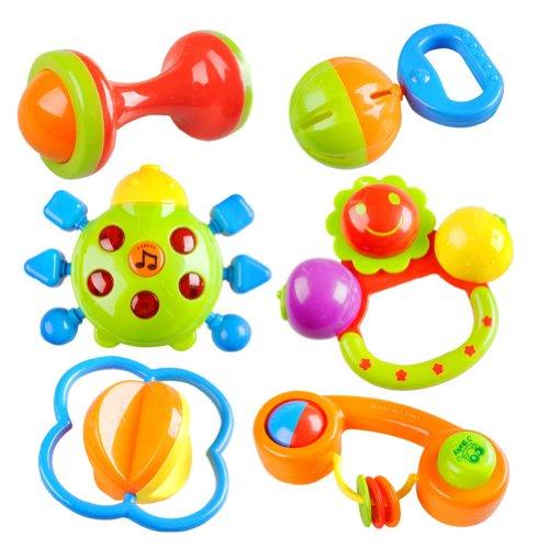 Peradix Giocattoli Sonagli Shake Rattle per Neonati Bambini Sicuri Colorati con Luce e Musica