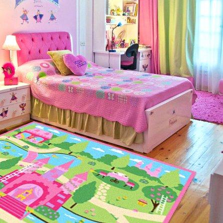 FADFAY Home Textile,Cartoon Castle Girls Bedroom Rugs,Delicate Little Flowers Bedroom Floor Rugs,Cute Colorful Cartoon Kids Living Room Carpet