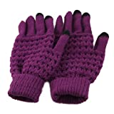 All-match Plaid Knit Wool Touch Screen Gloves Women Gloves Arm Warmer Gloves for Girls, Ladies, Women, Female, Christmas Gifts, Birthday Gifts, Etc. (plaid purple)