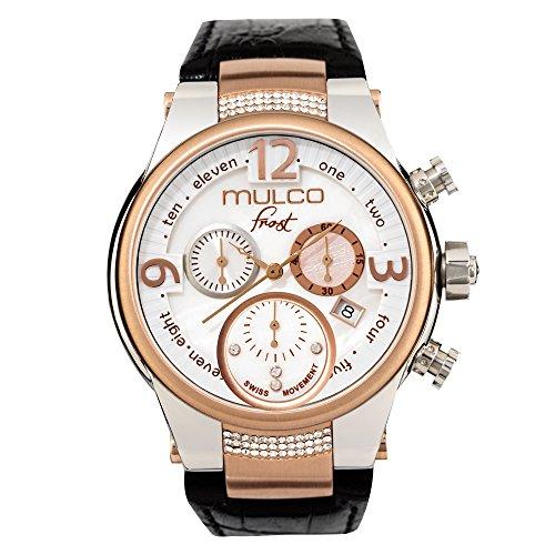 Mulco MW5heladas-2601-123Negro Piel de banda reloj de mujer con cristales de Swarovski