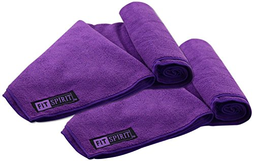 Fit Spirit Set of 2 Super Absorbent Microfiber Non Slip Skidless Sport Towels (15x24) - Purple Towels