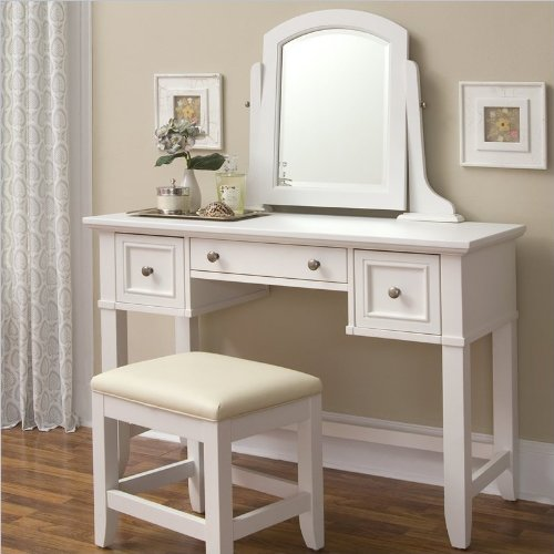 Home Styles 5530-70 Naples Vanity Table, White Finish