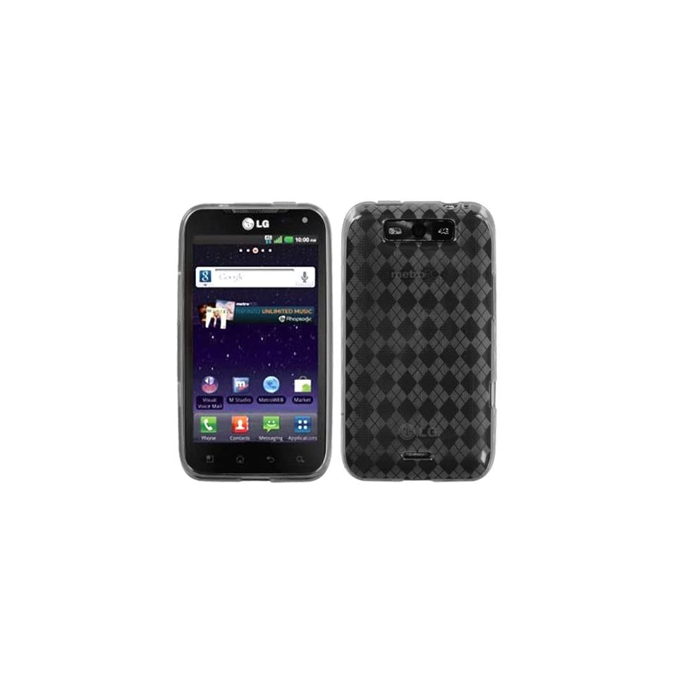 Asmyna LGMS840CASKCA064 Argyle Slim and Durable Protective Cover for LG Connect 4G MS840   1 Pack   Retail Packaging   Smoke