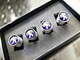 Peugeot Deluxe Blue & Chrome Wheel Valve Dust Caps with Presentation Box. GTI 207 206 307 107 RCZ