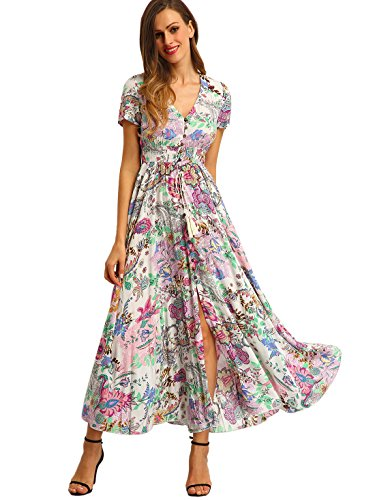 Milumia-Womens-Print-Button-Split-Front-Flare-Maxi-Dress