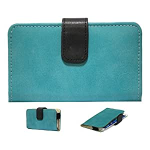 Jo Jo A8 Nillofer Leather Carry Case Cover Pouch Wallet Case For Celkon A20 Light Blue Black