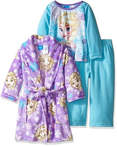 Disney Girls' Toddler Girls' Frozen Elsa 3-Piece Pajama Set with Robe, Blue/Purple, 3T