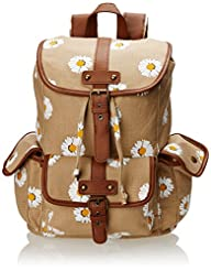 Wild Pair Printed Canvas Backpack With Faux Leather Trim