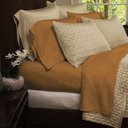 Bamboo Extra Soft Queen Bed Sheet Set - 4pc Set - Deep Pockets - Wrinkle Free (Queen, Gold) (Organic Bed Set compare prices)