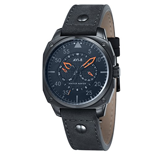 AVI-8 Hawker Hunter Men's Quartz Watch with Black Dial Analogue Display and Black Leather Strap AV-4009-04