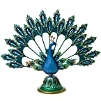 Metal and Glass Peacock Candle Holder