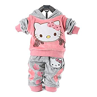 Autumn Baby Children 2piece Suit Set Girl's Hello Kitty Clothing Sets Velvet Sport Suits Hoody +Pants Wholesale Pajama Suit