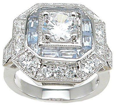 Genuine Cassis (TM) 925 Sterling Silver Rhodium Finish CZ Antique Style Pave Anniversary Ring - Finger Size 6. 100% Satisfaction Guaranteed.