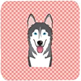 "Caroline's Treasures BB1218FC Checkerboard Pink Alaskan Malamute Foam Coaster (Set Of 4), 3.5"" H X 3.5"" W, Multicolor"