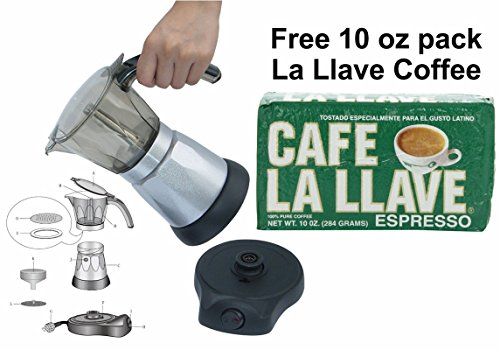 Electric Cuban Style 3 Cups Coffee Maker with One Cafe La LLave 10 oz pack