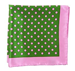 100% Printed Silk Kelly Green and Pink Big Printed Dots Patterned Pocket Square