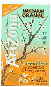 AriZona Mandarin Orange Green Tea with Ginseng & Honey Jasmine, 20 Count Tea Bags, 1.55-Ounce Boxes (Pack of 6)