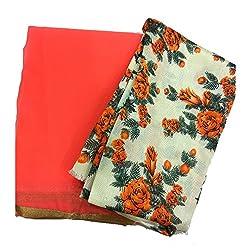 Navanya Couture Orange Summer Chiffon Sarees With Gold Lace Border & Bhagalpuri Blouse