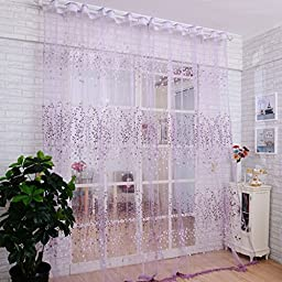 Binmer(TM)Window Curtains Door Curtain Floral Sheer Tulle Voile Drape Panel Scarf Valance for Bathroom Balcony Living Room Home Decor (Purple)