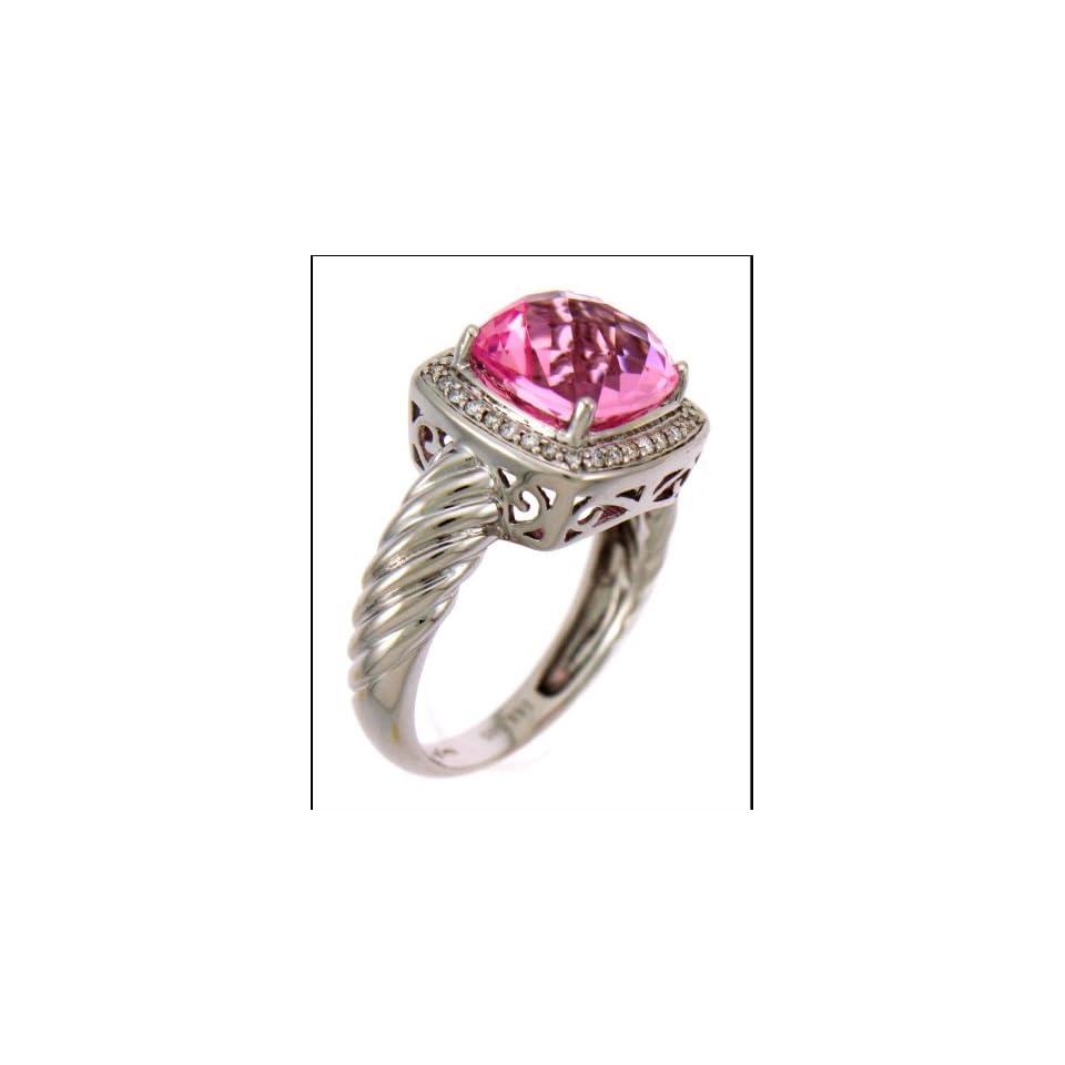 14 Carat White Gold Diamond Ring Centered with 3.70 Carat Pink Stone