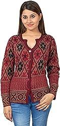 KTC Women's Wool Regular Fit Cardigan (515-MAROON, Maroon, 38)