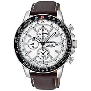 Seiko Men's Solar 43mm Brown Leather Band Steel Case Hardlex Crystal White Dial Analog Watch SSC013P1