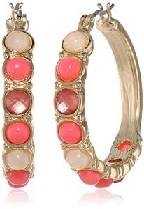 "Napier ""Sea Bubbles"" Gold-Tone Coral Click-It Hoop Earrings"
