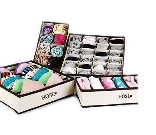 happyelife® séparateurs de tiroir Placard Organisateur Soutien-gorge Sous-vêtements Boîtes de rangement Set 4