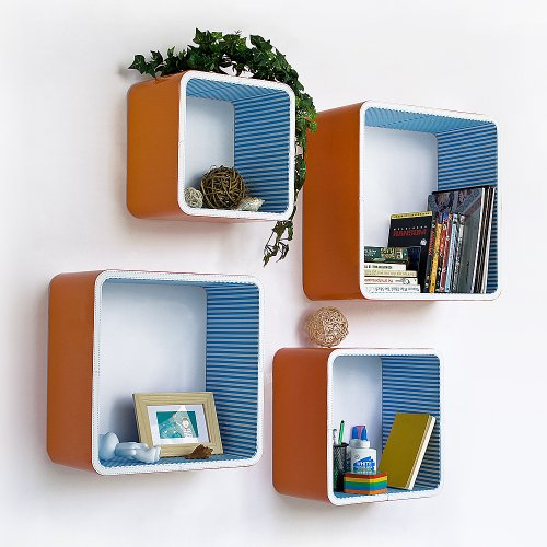 Trista - [Orange & Blue Strip] Square Leather Wall Shelf / Bookshelf / Floating Shelf (Set of 4)