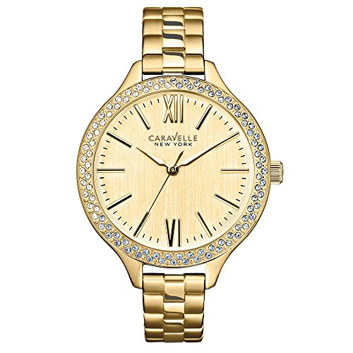 Caravelle New York 44L154 - Reloj analógico de cuarzo para mujeres, correa de acero inoxidable, color dorado