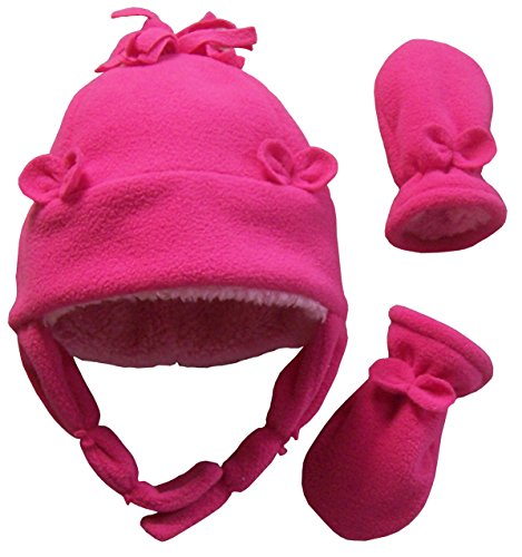 N'Ice Caps Baby Girls Sherpa Lined Fleece Hat And Mitten With Bows (Infant 6-18 Months, Fuchsia Solid)